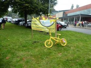Ubiquitous yellow bike outside Sutton's Lammas Leisure Centre